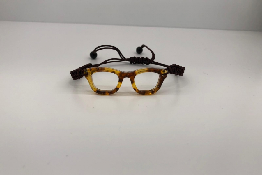 Pulsera gafa de pasta redonda color marrón