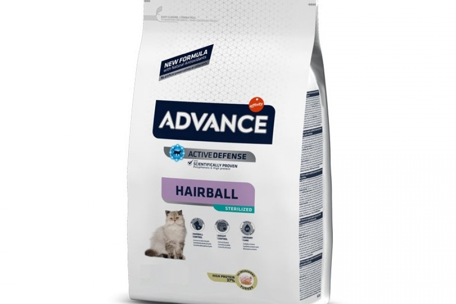 PIENSO PARA GATO ADVANCE CAT STERILIZED HAIRBALL 1,5KG