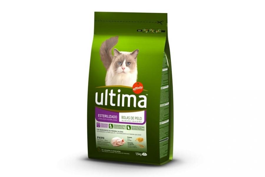 PIENSO PARA GATO ULTIMA CAT STE HAIRBALL DE POLLO 1.5 KG