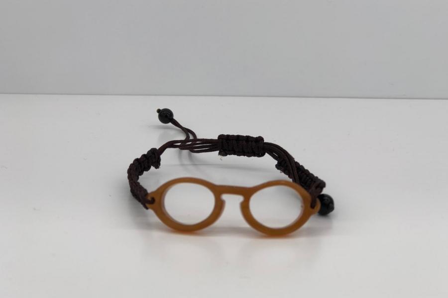 Pulsera gafa de pasta redonda color marrón nude