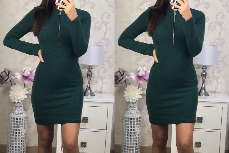 Vestido Cremallera Verde